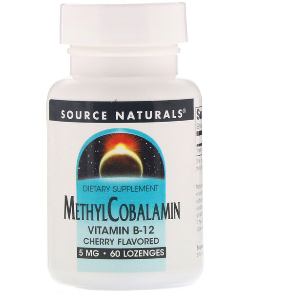 Source Naturals, MethylCobalamin, Vitamin B12, Cherry Flavored, 5 mg, 60 Lozenges
