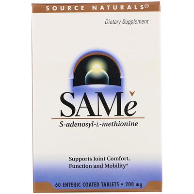 Купить SAM-e (S-аденозил-L-метионин), 200мг, 60таблеток, покрытых кишечнорастворимой оболочкой