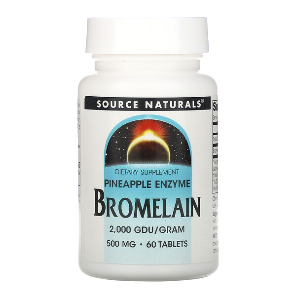 Source Naturals, Bromelain 2,000 GDU/g, 500 mg, 60 Tablets