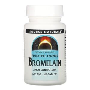 Сорс Начэралс, Bromelain 2,000 GDU/g, 500 mg, 60 Tablets отзывы покупателей