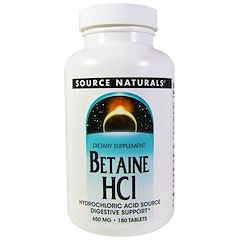 Source Naturals, Betaine HCL, 650 mg, 180 Tablets