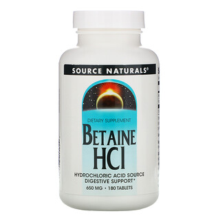 Source Naturals, Betain HCl, 650mg, 180Tabletten