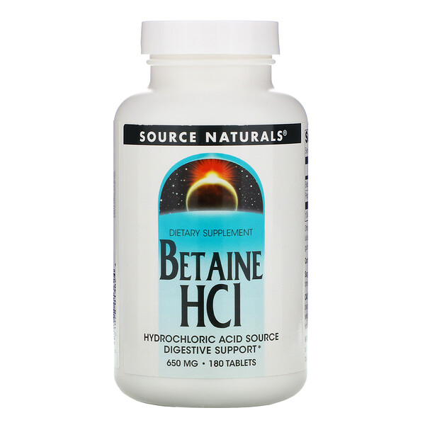 Betaine HCl, 650 mg, 180 Tablets