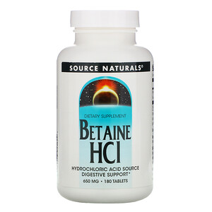 Сорс Начэралс, Betaine HCl, 650 mg, 180 Tablets отзывы