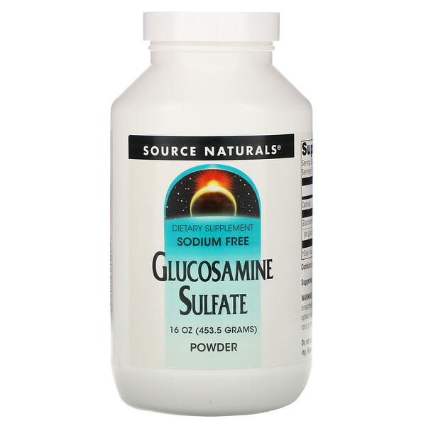 Source Naturals, Glucosamine Sulfate Powder, Sodium Free, 16 oz (453.6 g)