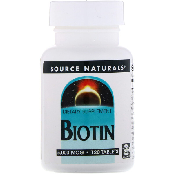 Source Naturals, Biotin, 5,000 mcg, 120 Tablets