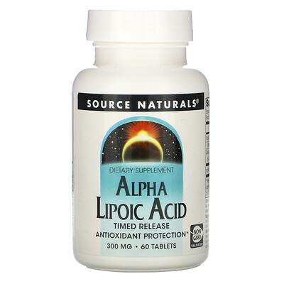 Купить Source Naturals Альфа-липоевая кислота, ограниченный выпуск, 300 мг, 60 таблеток