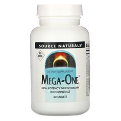 Source Naturals, Mega-One 複合維生素營養片,不含鐵,60 片裝