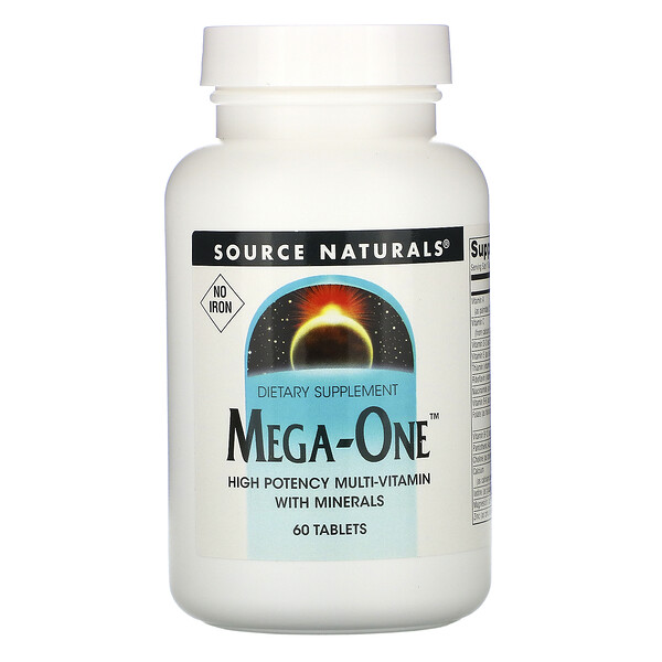 Source Naturals, Mega-One(メガワン)、鉄分不使用、60粒