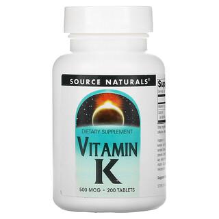Source Naturals, Vitamin K, 500 mcg, 200 Tablets