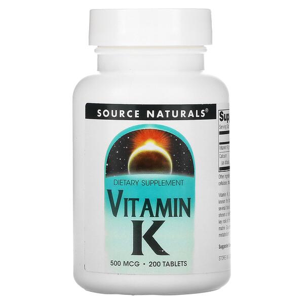 Source Naturals, ビタミンK、500mcg、200錠