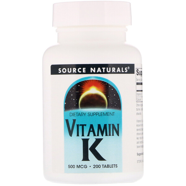Source Naturals, Vitamin K, 500 mcg, 200 Tablets