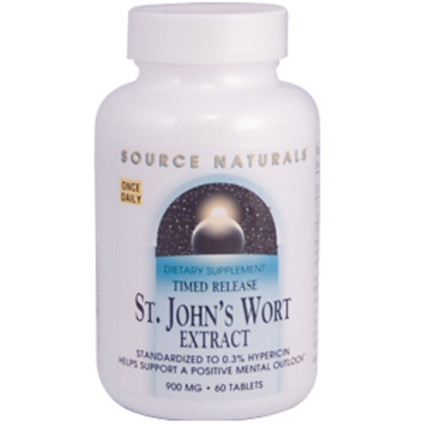 Source Naturals, St. John's Wort Extract (Timed Release), 900 mg, 60 Tablets (Discontinued Item)