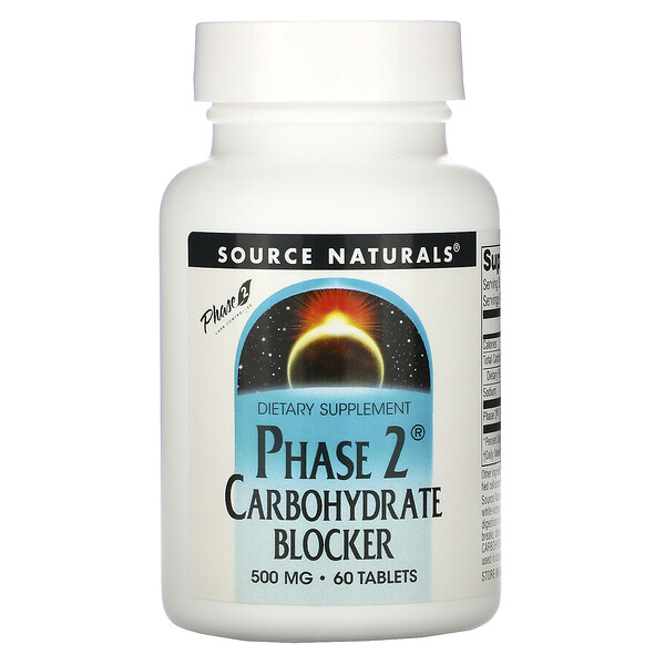 Source Naturals, Phase 2 Carbohydrate Blocker, 500 mg, 60 Tablets