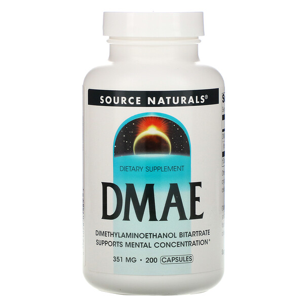 Source Naturals, ДМАЭ, 351 мг, 200 капсул