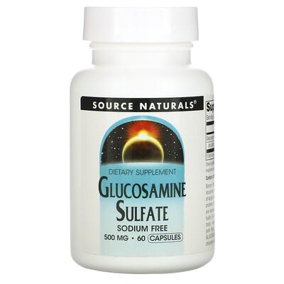 Source Naturals Glucosamine Sulfate, Sodium Free, 500 mg, 60 Capsules