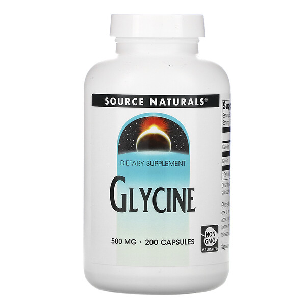 Source Naturals, Glycine, 500 mg, 200 Capsules