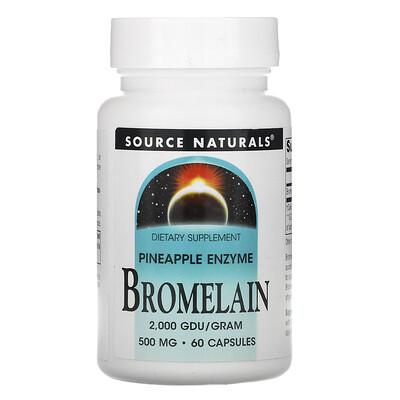 Source Naturals Bromelain, 500 mg, 60 Capsules