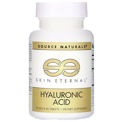 Фото - Skin Eternal, Hyaluronic Acid, 50 mg, 60 Tablets hyaluronic acid 50 mg 60 veg capsules