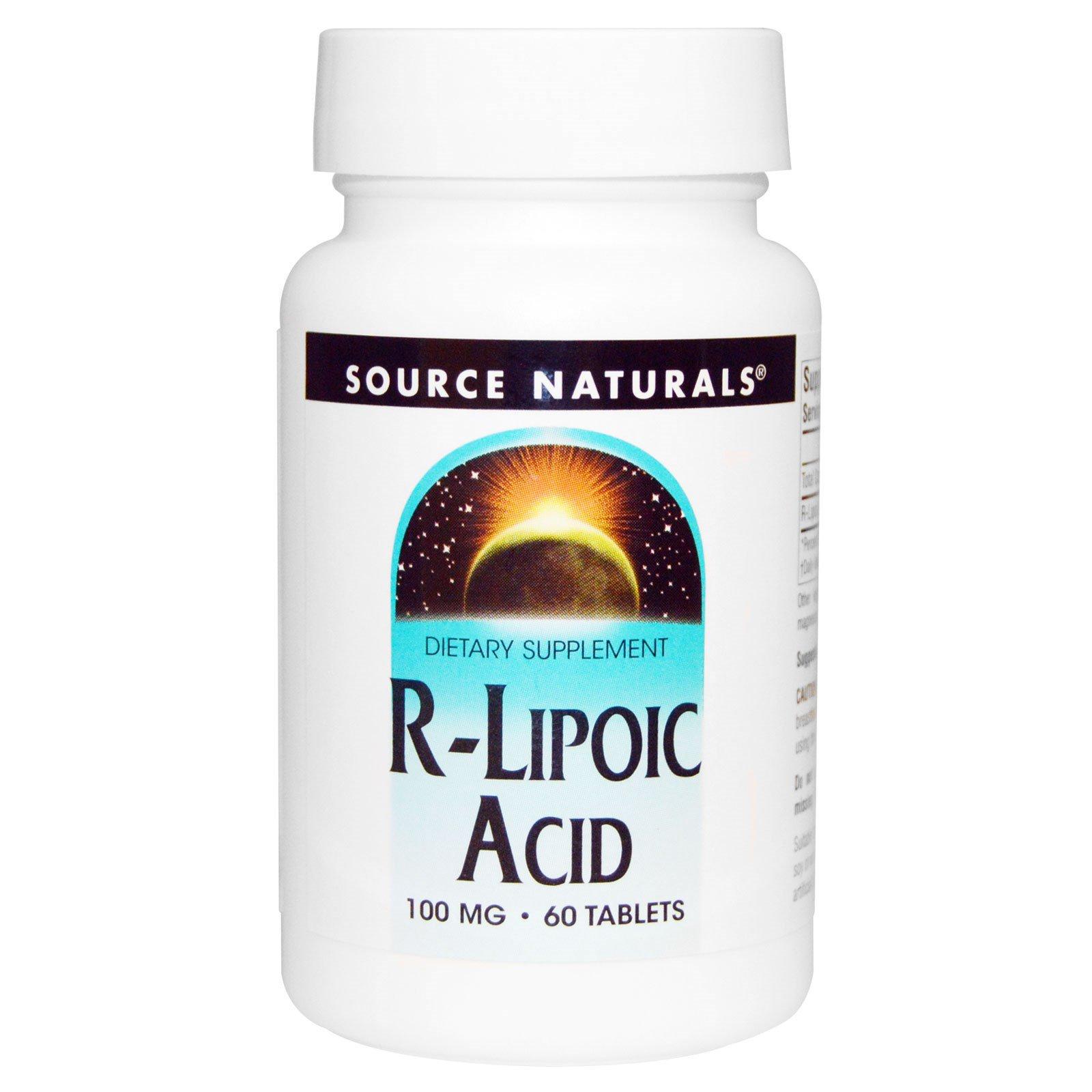 Source Naturals, R-липоевая кислота, 100 мг, 60 таблеток