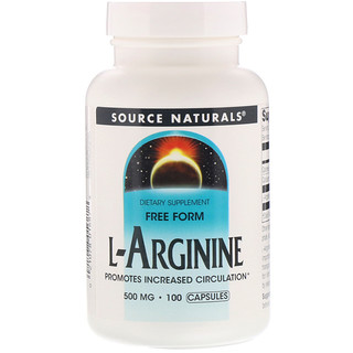 Source Naturals, L-アルギニン、フリーフォーム、500 mg、カプセル100個