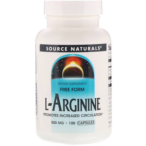 Source Naturals, L-Arginine, Free Form, 500 mg, 100 Capsules