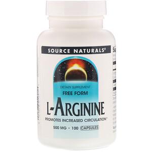 Сорс Начэралс, L-Arginine, Free Form, 500 mg, 100 Capsules отзывы