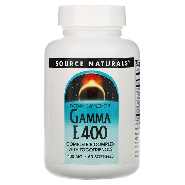 Source Naturals, Gamma E 400 Complex with Tocotrienols, 400 mg, 60 Softgels