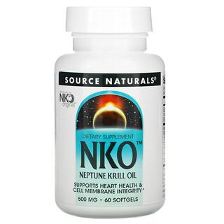 Source Naturals, NKO، زيت نبتون كريل، 500 ملغم، 60 كبسولة هلامية