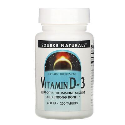 Source Naturals ВитаминD3, 400МЕ, 200таблеток