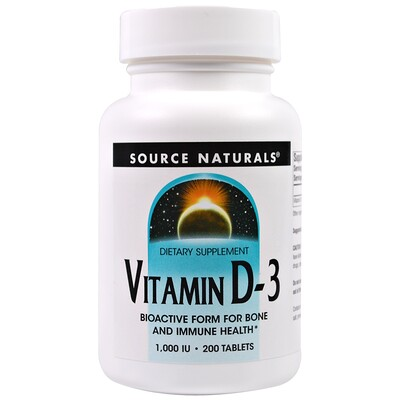 Source Naturals Витамин D3, 1000 МЕ, 200 таблеток