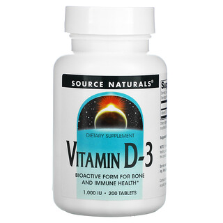 Source Naturals, فيتامين د-3، 1,000 وحدة دولية، 200 قرص