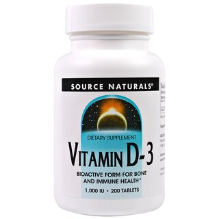 Source Naturals, Vitamin D3, 1.000 I.E., 200 Tabletten