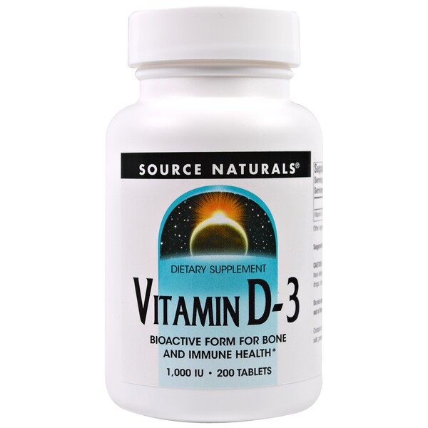 Vitamin D-3, 1,000 IU, 200 Tablets