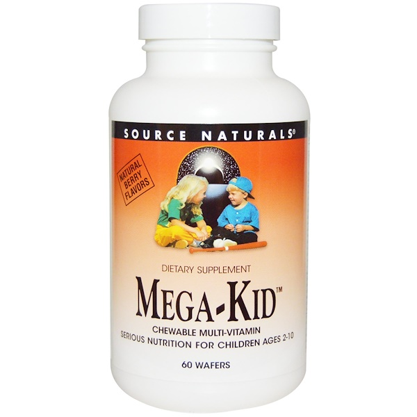 Source Naturals, Mega-Kid, Multi-Vitamínico masticable, Sabor natural a frutos del bosque, 60 obleas