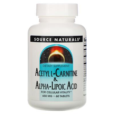 Source Naturals Acetyl L-Carnitine & Alpha-Lipoic Acid, 650 mg, 60 Tablets