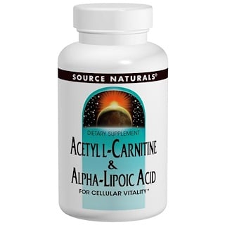 Source Naturals, Acetilo L-Carnitina y Acido Alpha-Lipoico, 650 mg, 60 Tabletas