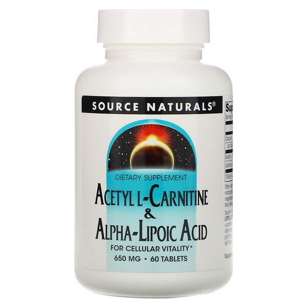 Source Naturals, Acetyl L-Carnitine & Alpha-Lipoic Acid, 650 mg, 60 Tablets