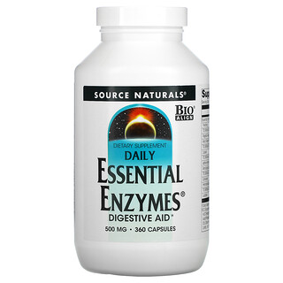 Source Naturals, Daily Essential Enzymes, Digestive Aid, 500 mg, 360 Capsules