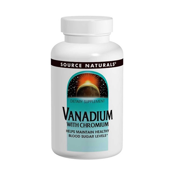 Source Naturals, Vanadium avec chrome, 90 comprimés