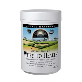 Source Naturals, Certified Organic, Whey to Health, Premium Protein Powder Concentrate, 10 oz (283.75 g)