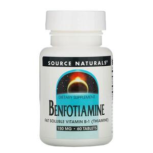 Сорс Начэралс, Benfotiamine, 150 mg, 60 Tablets отзывы покупателей