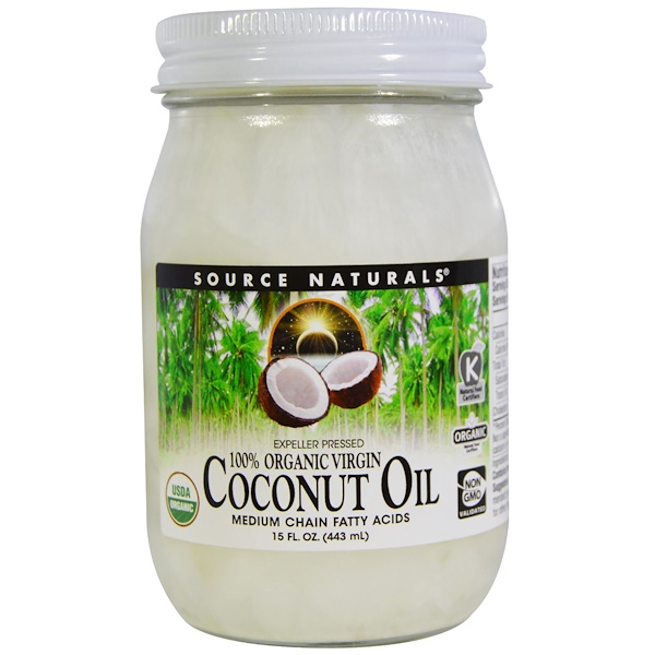 Source Naturals, 100% Organic Virgin, Coconut Oil, 15 fl oz. (443 ml)