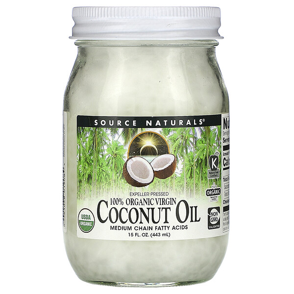 100% Organic Virgin, Coconut Oil, 15 fl oz. (443 ml)