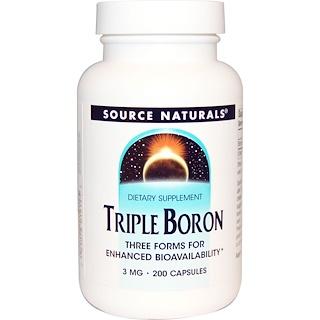 Source Naturals, Dreifach-Bor, 3 mg, 200 Kapseln