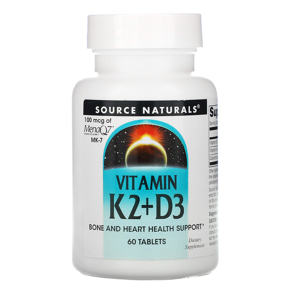 Source Naturals, Vitamin K2 + D3, 60 Tablets