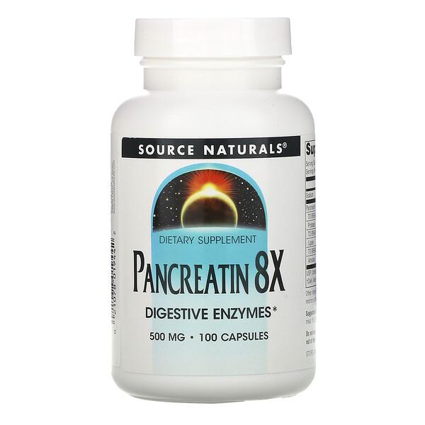 Pancreatin 8X, 500 mg, 100 Capsules