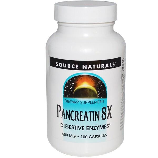 Pancreatin 8X, 500 mg, 100 cápsulas