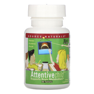 Source Naturals, Attentive Child، 60 قرصًا.