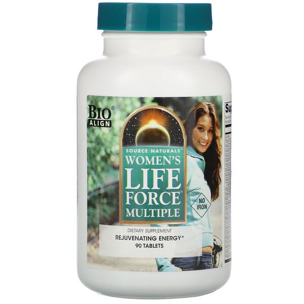 Women's Life Force复合维生素片,不含铁,90片